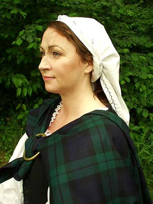 Womens Traditional Embroidered Linen Scottish Head Kertch!