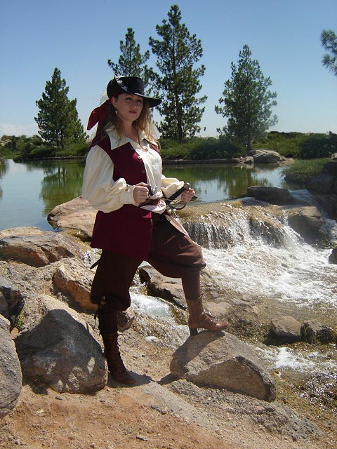 Full Lady Pirate Ensemble, hand-made sea-jerkin, pirate shirt in 100% weavers cloth, sturdy cotton pants, crevatte and sash