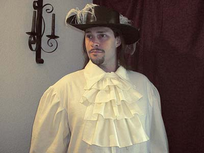 Mens Renaissance Noble Shift Common in France, Spain, England with V-neck, Collared Neckline; Lacy, Wide-cuffed Button Sleeves with Aiguillette-tipped Tie Closures in Your Choice of Natural Muslin, Linen!