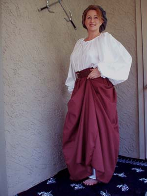 Renaissance Skirts, Lady Rose's Burgundy Red Peasant Skirt