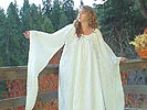 Gorgeous Medieval Gown with Angel Cut Sleeves, Ruffled Neckline, and Decorative Rolled Hems!
