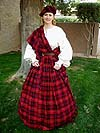 Victorian Period Scottish Heritage Ensemble (c. 1700 - 1900) with Full Length Chemise in Linen or Cotton, 100% Worsted Wool Clan Tartan Skirt, Shawl, and a Tam o Shanter!!